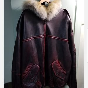 Authentic Pelle Pelle leather coat with fur hood